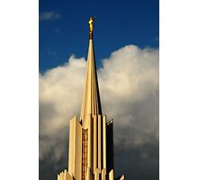 Jordan River Temple Spire at Sunset Photographic Print