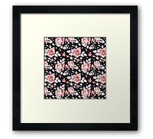 Stylish Vintage Pink Floral Pattern Framed Print