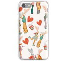 Love story of funny retro rabbits iPhone Case/Skin