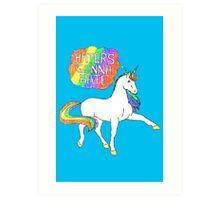 Haters gonna hate unicorn (blue background) Art Print