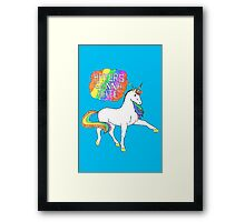 Haters gonna hate unicorn (blue background) Framed Print