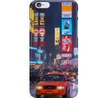 Times square and yellow taxi iPhone Case/Skin