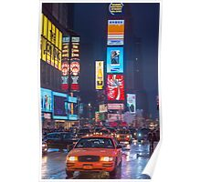 Times square and yellow taxi Poster