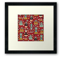 Retro Robots on Red Framed Print
