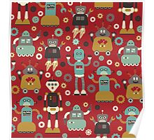 Retro Robots on Red Poster