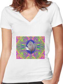lavender Fractal Tulip Tee Women's Fitted V-Neck T-Shirt