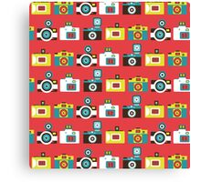 Colorful Toy Cameras Pattern Canvas Print