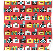 Colorful Toy Cameras Pattern Poster