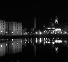 Liverpool Albert Dock at night  by Mike Davitt