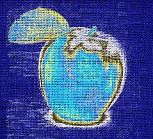 Blue Apple on Burlap Linen Jute #2 by Nhan Ngo