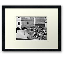The Old Bike by the Tower Framed Print