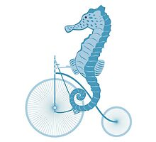 Seahorse on bicycle illustration in blue by schtroumpf2510