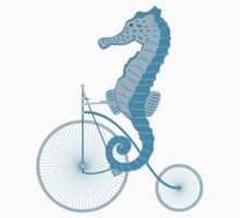 Seahorse on bicycle illustration in blue Kids Clothes