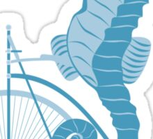 Seahorse on bicycle illustration in blue Sticker
