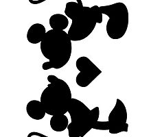 Mickie Mouse & Minnie Mouse Black And White Kiss by Ladannnn