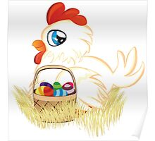 Hen with Easter Eggs Poster