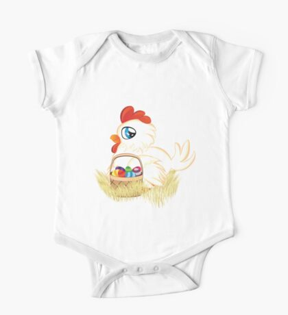 Hen with Easter Eggs One Piece - Short Sleeve
