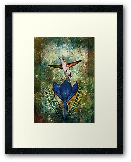 Hummingbird and Crocus by Alisa Gonzalez