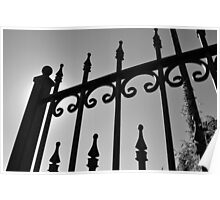 black and white iron rail fence Poster