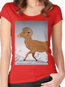 Wild Ram in Mountains 3 Women's Fitted Scoop T-Shirt