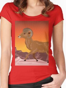 Wild Ram in Mountains 4 Women's Fitted Scoop T-Shirt