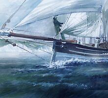Cornish lugger by Ray Pethick