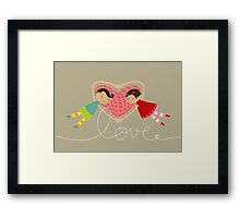 Valentine Boy Hearts Girl Framed Print