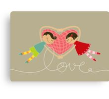 Valentine Boy Hearts Girl Canvas Print