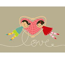 Valentine Boy Hearts Girl Photographic Print