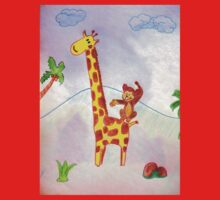 Acrobat animals: monkey jumping on a giraffe Kids Tee