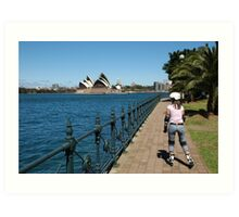 Girl rollerblading along the Sydney Harbour foreshore with the Opera House in the background Art Print