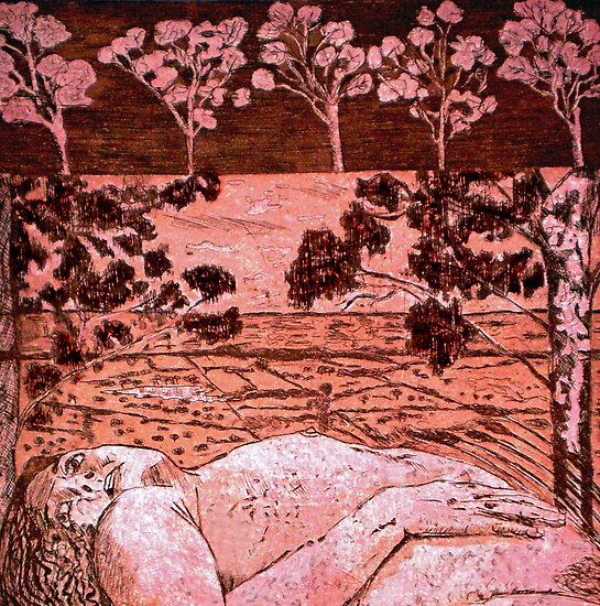 "Nude in the Outback - Copper plate etching by Belinda ""BillyLee"" NYE (Printmaker)"