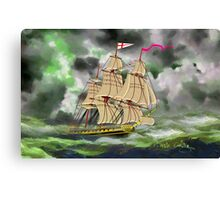 HMS Boreas, captain Horatio Nelson, in Stormy Weather Canvas Print