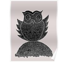 Frizzy-curly owl in black and white on pale background Poster