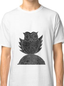 Frizzy-curly owl in black and white on pale background Classic T-Shirt