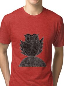 Frizzy-curly owl in black and white on pale background Tri-blend T-Shirt