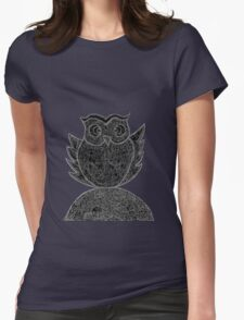 Frizzy-curly owl in black and white on pale background Womens Fitted T-Shirt