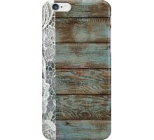 Western Country distressed turquoise Barn Wood white Lace iPhone Case/Skin