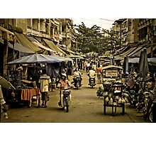 Market Street - Tachilek, Burma Photographic Print