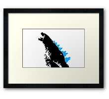 Godzilla Black and Blue Framed Print