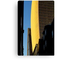 Narrow street and skyscrapers Canvas Print