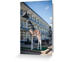 Giraffe wrapped in trash bags. Wildwood Crest, New Jersey Greeting Card