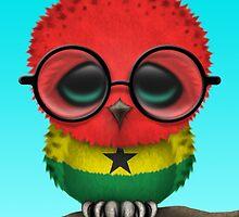 Nerdy Ghana Baby Owl on a Branch by Jeff Bartels