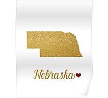 Gold Nebraska map Poster
