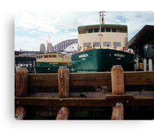 Circular Quay with Ferry and Harbor, Sydney, NSW, Australia Canvas Print
