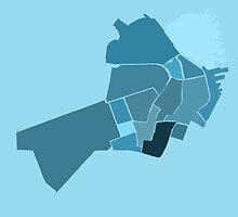 Downtown Boston Neighborhoods- Light Blue by Ethan Rankin