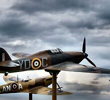 Two WW II Planes On Display - 2 by Barry W  King