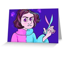Angry Vampire Girl With Scissors Greeting Card