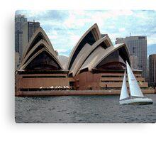 Sydney Opera House and Yacht, Sydney Harbor, NSW, Australia Canvas Print