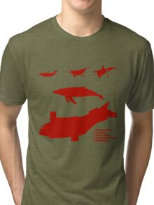 Whale Comparison Chart, TR alternate version (brighter red.) Tri-blend T-Shirt
